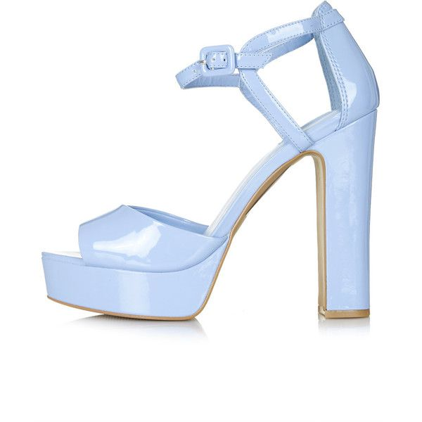 TOPSHOP LENA2 Patent Platform Sandals (85 BRL) ❤ liked on Polyvore featuring shoes, sandals, heels, sapatos, blue, ankle wrap sandals, platform sandals, platform shoes, blue heel sandals and patent leather sandals