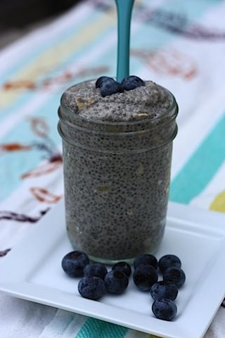 Chia pudding  1/4 cup whole chia seeds  3/4 cup unsweetened vanilla almond milk  1/2 scoop vanilla brown rice protein powder (Sun Warrior is my fav)  1 T rolled oats  1/2 teaspoon cinnamon  1/2 teaspoon vanilla extract  3 to 4 drops of liquid stevia, or other natural sweetener  1/2 sliced banana  1/8 cup blueberries