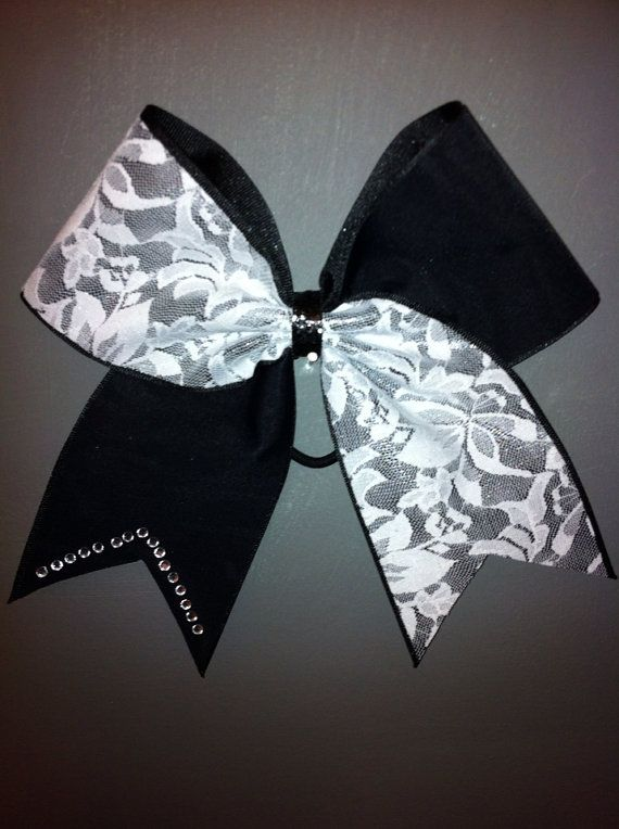 CHEER BOW black and white lace and rhinestones