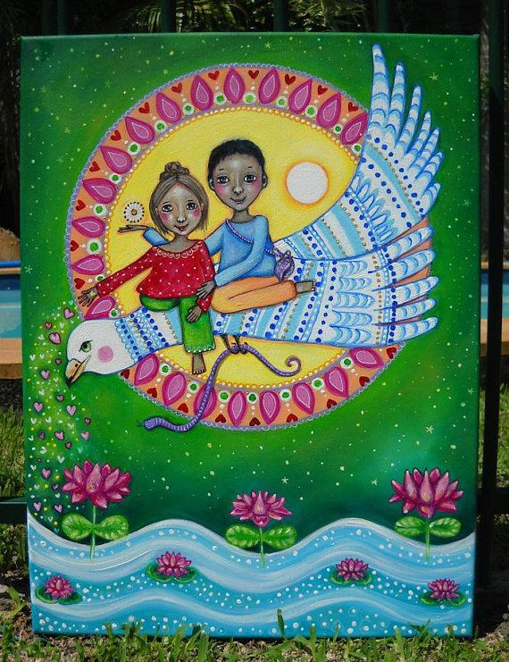Se trata de una pintura original que he creado titulada Garuda. Ha sido creado para una baraja de cartas de la próxima afirmación. El tema de esta tarjeta es Garuda. Garuda era el Monte del dios hindú Vishnu. En la pintura de que Vishnu se encuentra con su esposa, la diosa hindú Lakshmi en la Garuda volando. Fue hecho con pinturas acrílicas y se pinta sobre lienzo. Está protegida con un medio de gel de brillo resistente. La pintura viene lista para colgar y el tamaño es de 45 x 60cm (17,5…