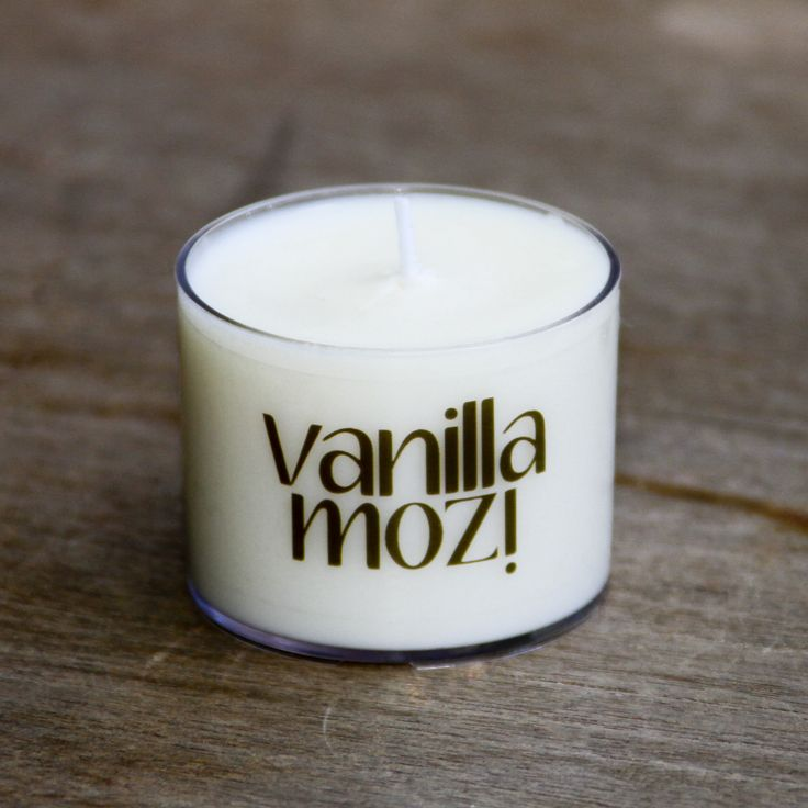 Single Vanilla Mozi Spa Cup Candle. Ideal for camping.