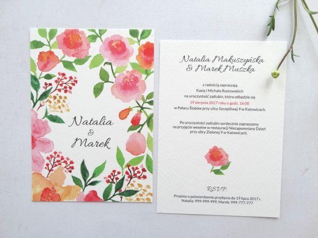 Wedding Invitations Flowers Roses Pink Watercolors Zaproszenia Slubne Roze Delikatne Kwiaty Recznie Malowane Akwarele Sen Pink Wedding Pink Wedding