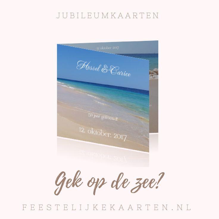 Originele kaarten maken met de zee voor jaar getrouwd. Zomerse jubileumkaarten en uitnodigingen bestellen voor een feestje met het strand en zand.