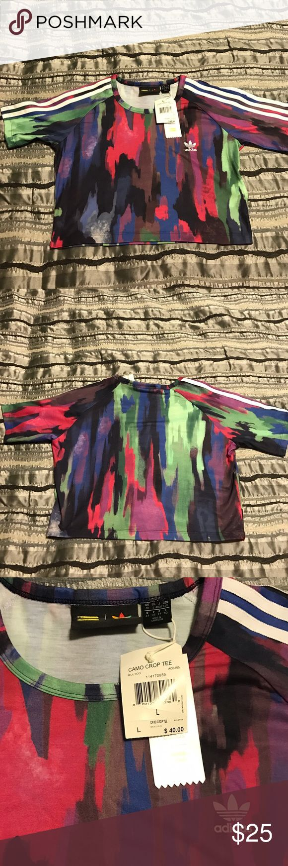 Authentic Brand New Adidas Camo Crop Top brand new with tags Adidas Tops Crop Tops