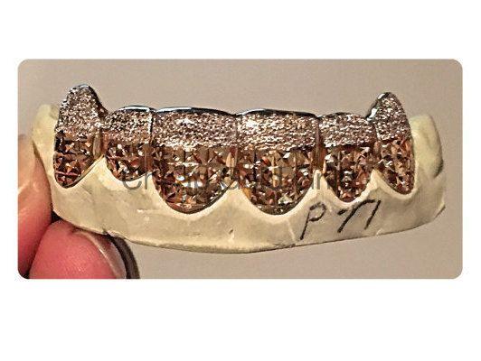 Diamond Cut Grillz Two Tone Fangs Diamond Dust Gold Teeth