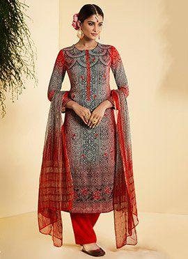 c47cadc00d Grey N Red Georgette Straight Suit | suit concept design | Kurti ...