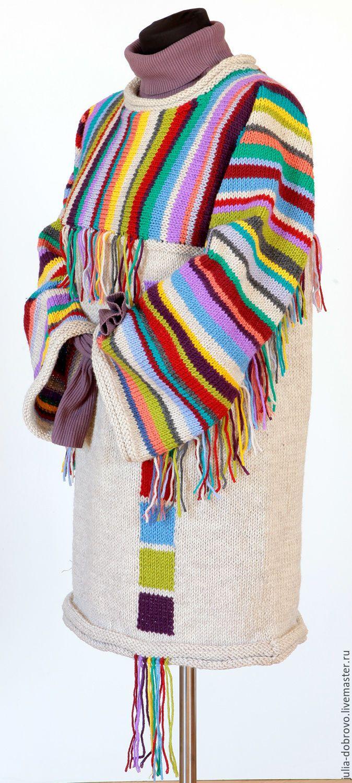 """Купить Туника платье джемпер свитер полосами спицами """"Птица-радуга"""" - разноцветный, в полоску, туника"""