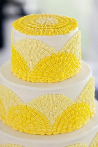 via The World of Jack Rogers: Yellow Wedding Cakes, Yellow Weddings, Shades Of Purple, Fans, Daisies, Cakes Design, Yellow Cakes, Bright Yellow, Wedding Colors Palettes