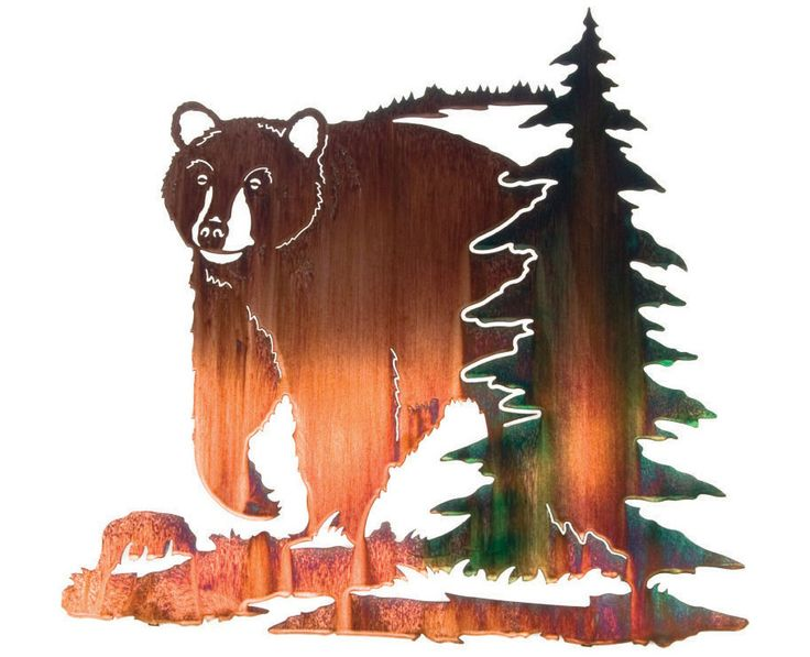 Lazart Metal Wall Art Wall Decor Bear W Pine Tree By Laser Wall Art
