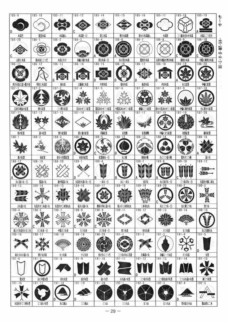「我が家の家紋」(3720種類)P29:も~や・木瓜・紅葉・桃・矢・山・山形