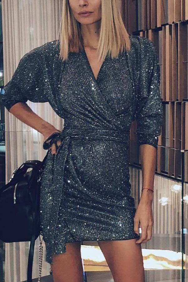 Fashion Sexy Sequined V-Neck Mini Bodycon Dress #ebuytide #blouse #dress #fashio…