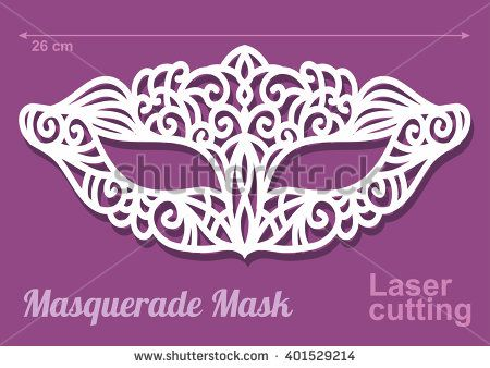 Beautiful Laser Cut Vector Die Masquerade Mask Template In Intricate Cut  Out Design.   Stock