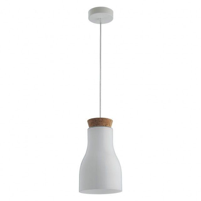 HENDERSON White glass and cork ceiling light