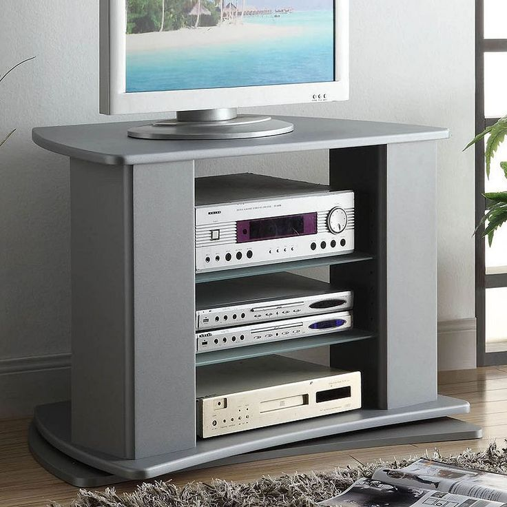 4D Concepts Swivel-Top Gray TV Stand, Grey
