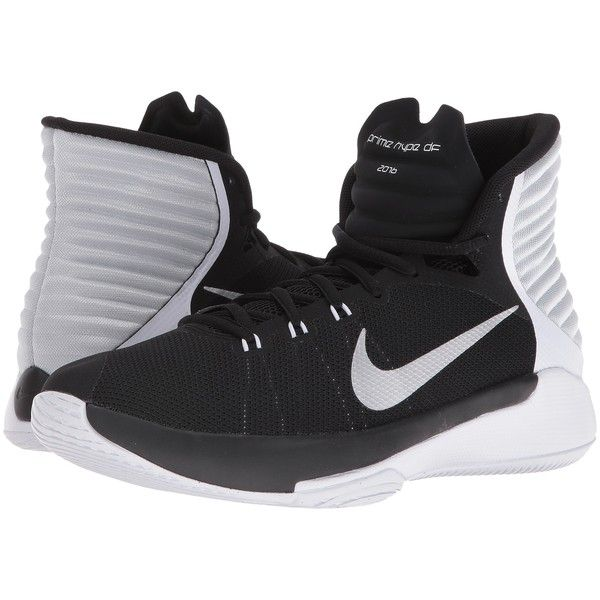 Nike Prime Hype DF 2016 (Black/White/Pure Platinum/Reflect Silver)... ($50) ❤ liked on Polyvore featuring shoes, athletic shoes, black, basketball shoes, black and white shoes, white and black shoes, black white shoes and high top basketball shoes