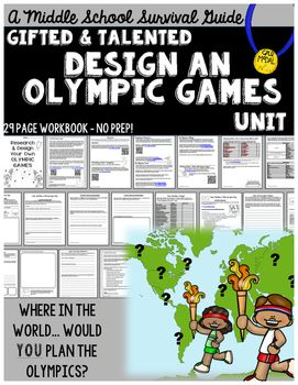 "A ""no prep"" project based learning unit for the upper elementary students! Students work to research and design a bid to hold the next Olympic Games in a city of their choice! They will made decisions about location, city needs, development, map, and budget.They will plan a logo, mascot, medal design, torch, and torch relay plan to uniquely brand their Olympic Games."