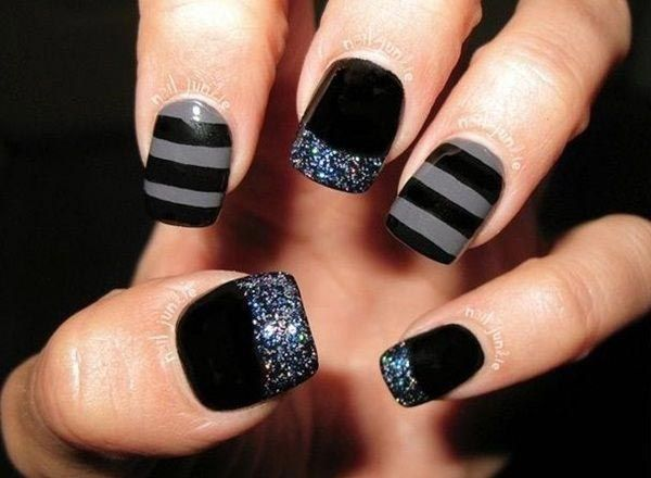 Stripped and glittering nail art designs in black and grey