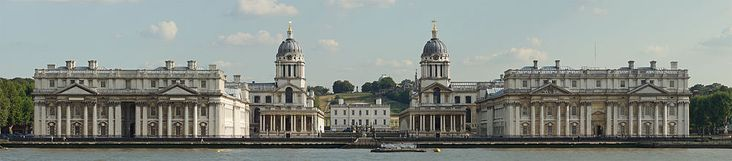 The Old Royal Naval College, Greenwich, a World Heritage Site. Originally the Royal Hospital for Seamen, the buildings were designed by Sir Christopher Wren and built between 1696 and 1712. Nicholas Hawksmoor and Sir John Vanbrugh also worked on the complex.