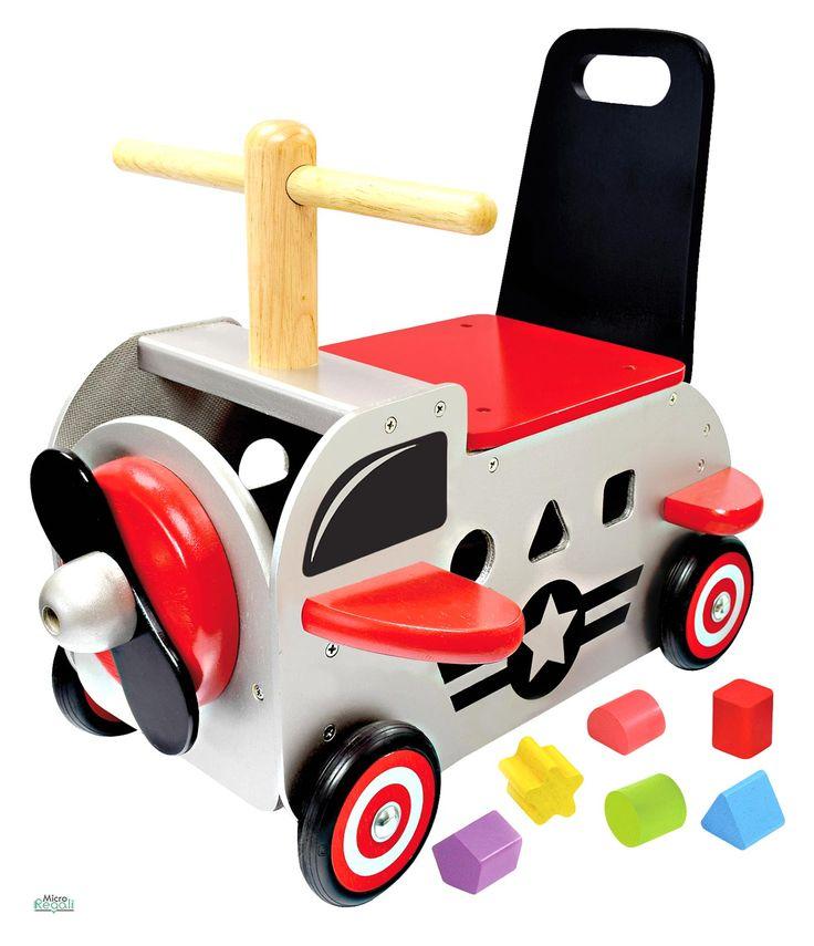 CARRELLINO CAVALCABILE in Legno AEREOPLANO cm 39x34x42 h - Seduta cm 20 h per bambini. Primi Passi. I'm Toy.