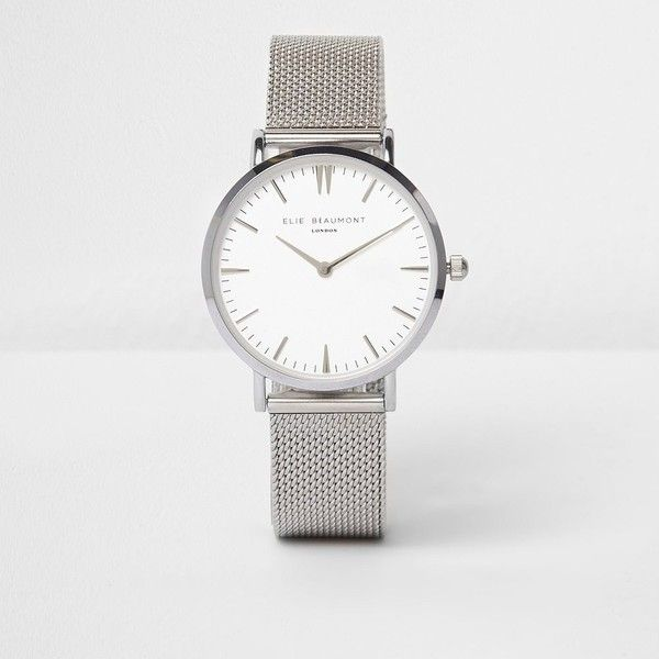 River Island Silver tone Elie Beaumont mesh strap watch (2,135 EGP) ❤ liked on Polyvore featuring jewelry, watches, silver, women, silvertone jewelry, river island watches, silver wrist watch, silver jewellery and silvertone watches