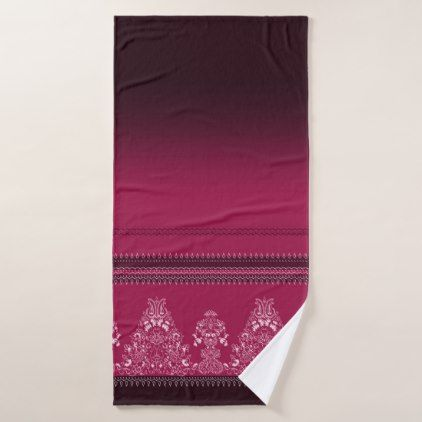 Pink traditional paisley floral pattern bath towel - chic design idea diy elegant beautiful stylish modern exclusive trendy