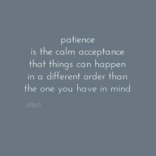 patience is the calm acceptance that things can happen in a different order than the one you have in mind ... Quotes images                                                                                                                                                                                 More