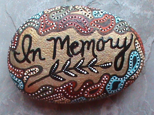 Beach Stone Art/Art on Stone/Painted Rocks/Painted Stones/Memorial/Lake Erie. $13.99, via Etsy.