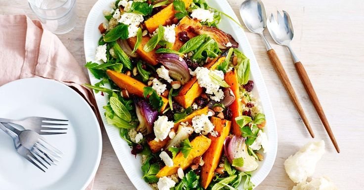 Serve up a fresh winter salad with this roasted sweet potato, quinoa and feta salad.