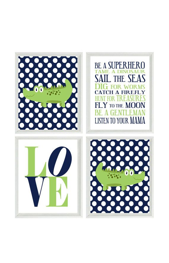 Nursery Art Alligators - Boy Rules - Love - Navy Blue White POlka Dots Green - Preppy Baby Boy Room - Custom Wall Art - Set Of 4 8x10