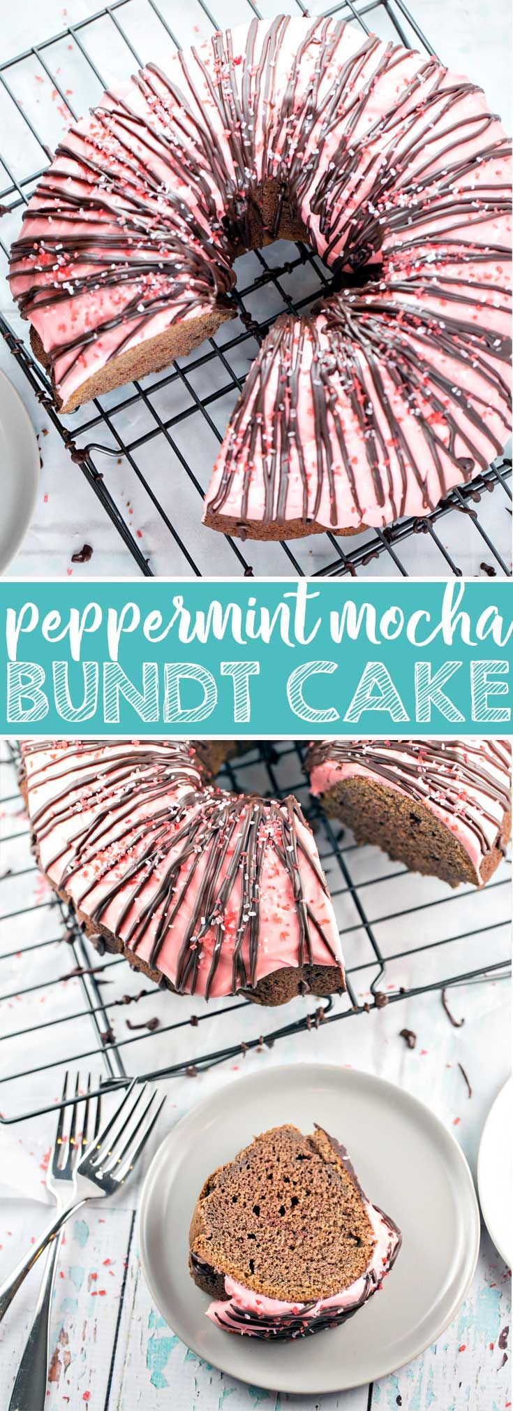 Peppermint Mocha Bundt Cake: rich chocolate cake, peppermint cream cheese frosting, and a chocolate ganache drizzle - this one-bowl mix by hand bunt cake is perfect for holiday entertaining.  | Posted By: DebbieNet.com