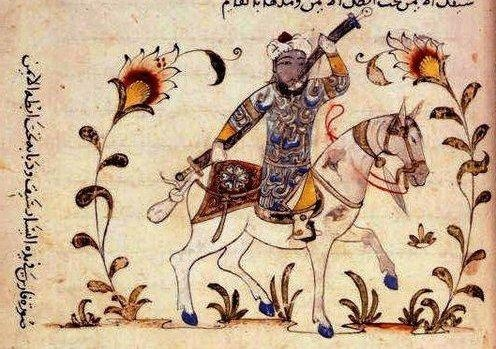 folio 134. This illustration involves an exercise whereby the rider is holding a sword in each hand, leaving the reins free on the horse's neck.   Executed under the Mamelukes, in Syria or Egypt. Source: British Library, Add. 18866.
