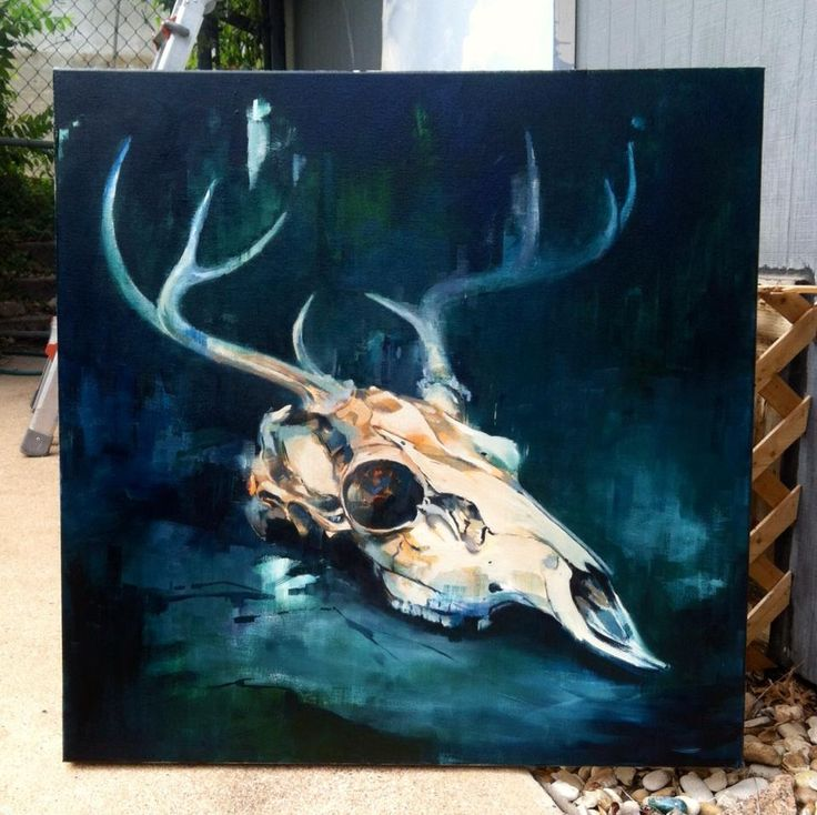 deer skull oil art - Google 搜尋