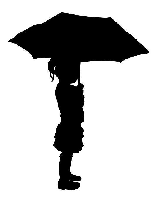 Картинка девочка под зонтиком для вырезания
