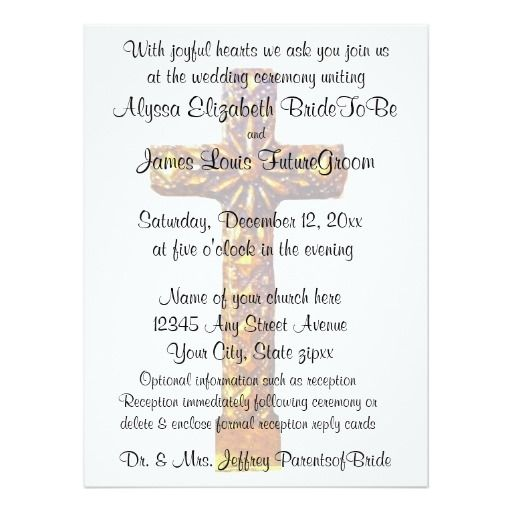 gold cross religious wedding card