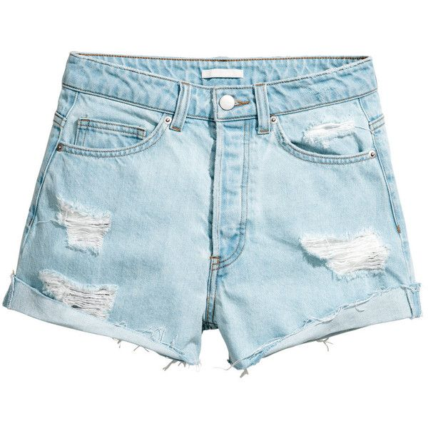 Short High Waist Shorts $19.99 (€18) ❤ liked on Polyvore featuring shorts, my clothes, blue shorts, destroyed shorts, ripped short shorts, high-waisted shorts and distressed shorts