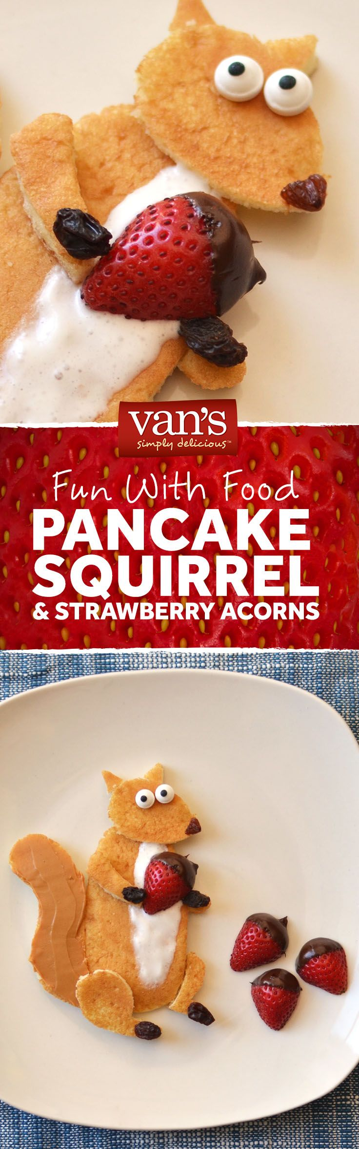 When breakfast gets a little nutty! Have some fun and dish up a pancake squirrel with strawberries, raisins, whipped cream and peanut butter.