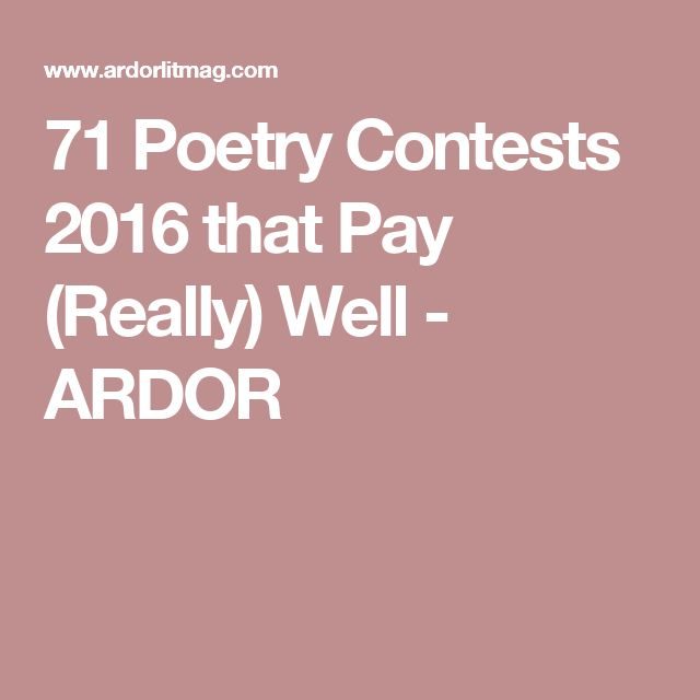 71 Poetry Contests 2016 that Pay (Really) Well - ARDOR