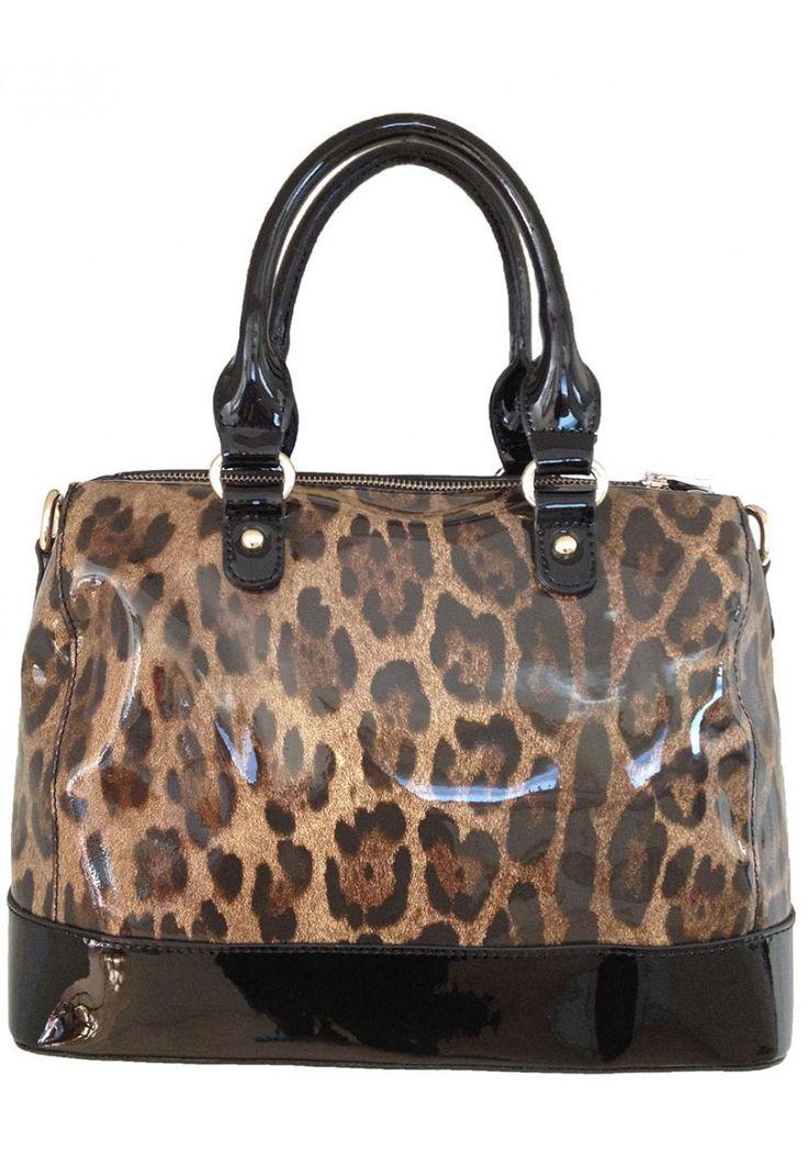 Sylvie Rousselle -- Women's Black Patent Leather Handbag with Leopard Pattern