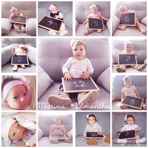 Photo Collage: baby´s 12 months / 12 meses del bebé / 12 meses do bebê