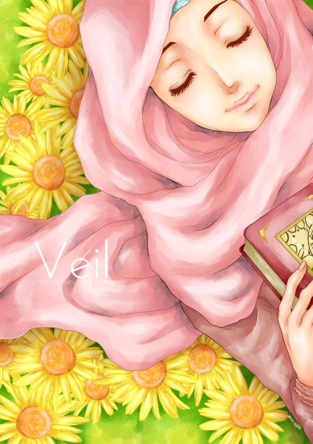 Beautiful Pink Hijab, and Book of Quran