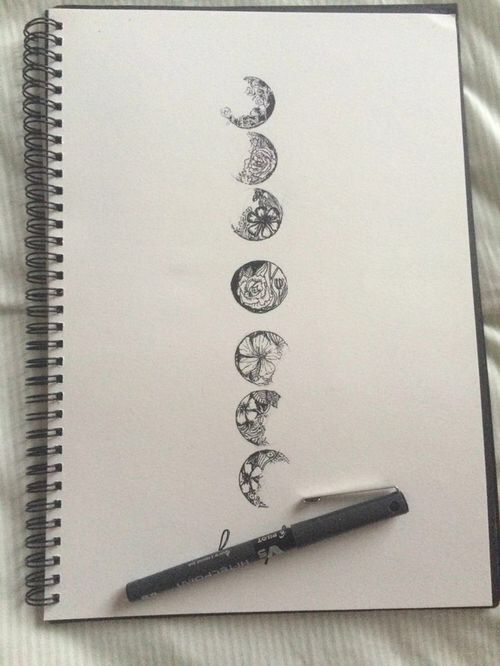Moon phases with separate designs down the spine