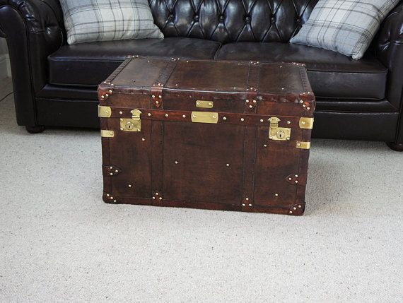 Antique Inspired English Leather Steamer Trunk Coffee Table Antique Inspiration Coffee Table Trunk Steamer Trunk Coffee Table