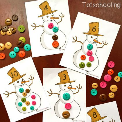 Snowman Buttons: Free Printable Counting Cards