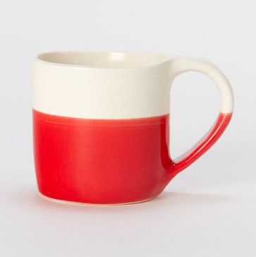 Spare Stripe Mug, Red - contemporary - cups and glassware - Terrain