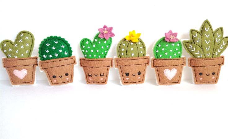 Cacti brooches - cute cactus - succulents lover