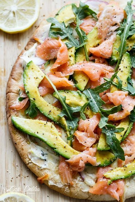 There are more toppings for pizza than pepperoni! Try this smoked salmon and avocado rendition. Elegant and yummy!