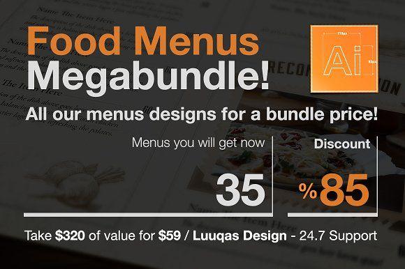 Food Menus Megabundle  by Luuqas Design on @creativemarket