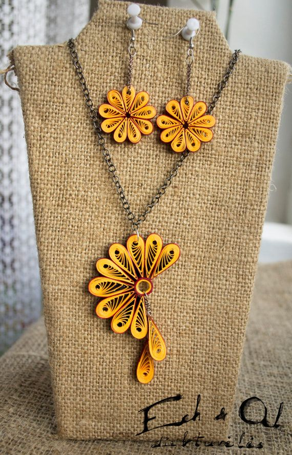 Yellow color paper quilled eco-friendly earring and necklace jewelry set