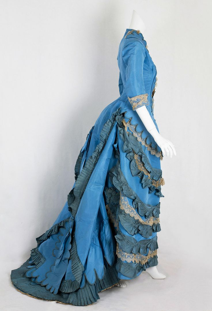 2 of 4: Taffeta bustle dress from the Lincoln Hill estate, 1870s (via Vintage Textile)