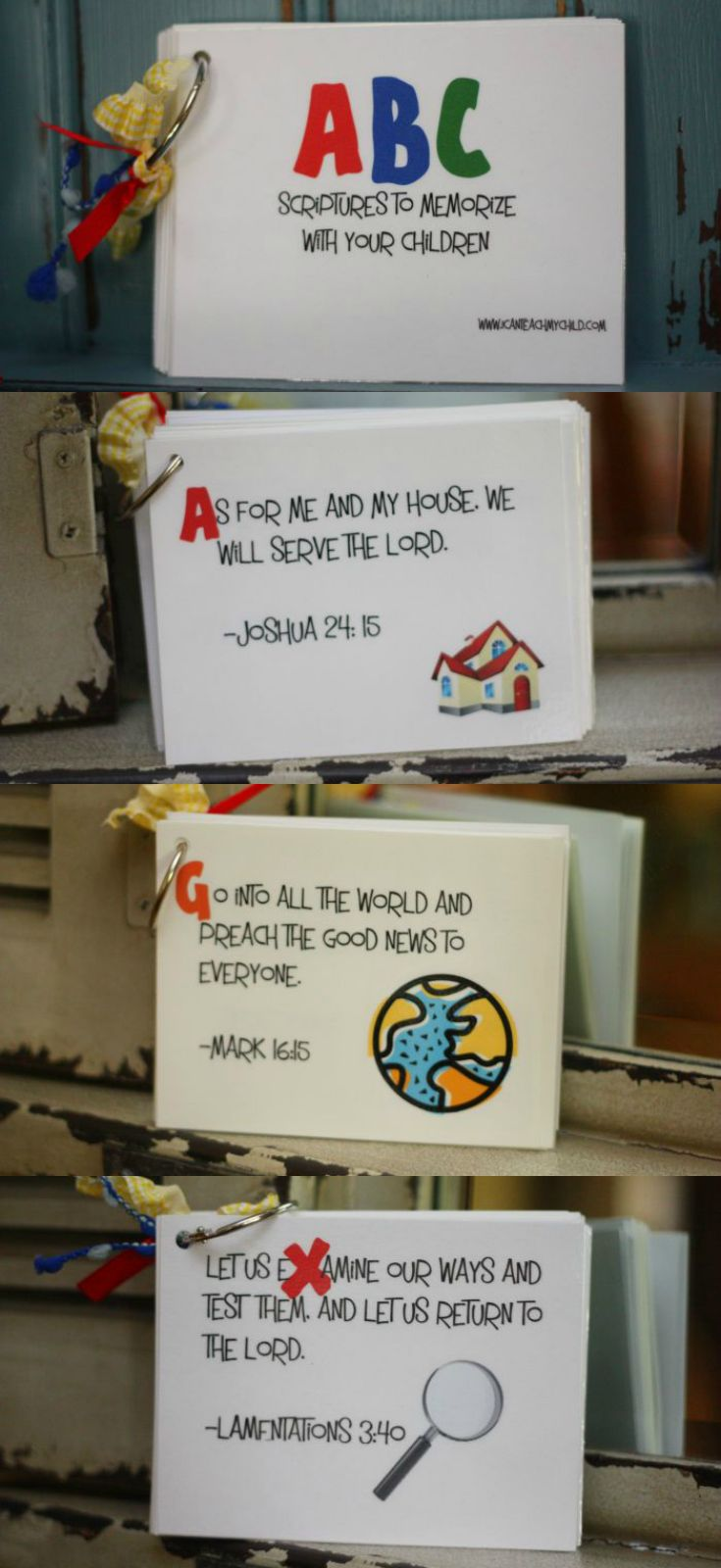 ABC Printable Scripture Cards:  Free download with 1 easy-to-memorize scripture for every letter of the alphabet.  Such a great resource for families!